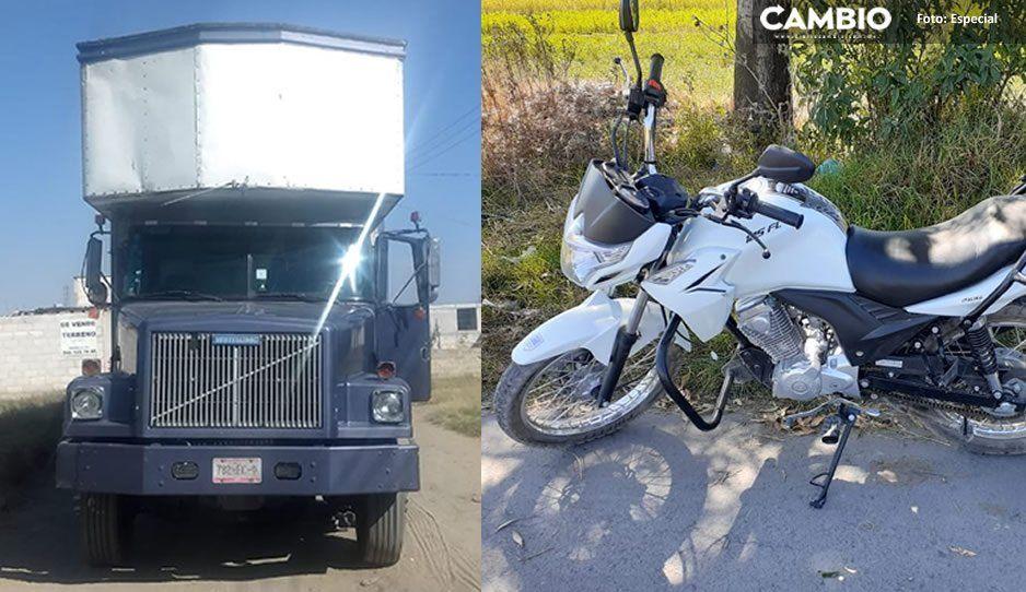 Policías recuperan tres camiones y una motocicleta robadas en Texmelucan
