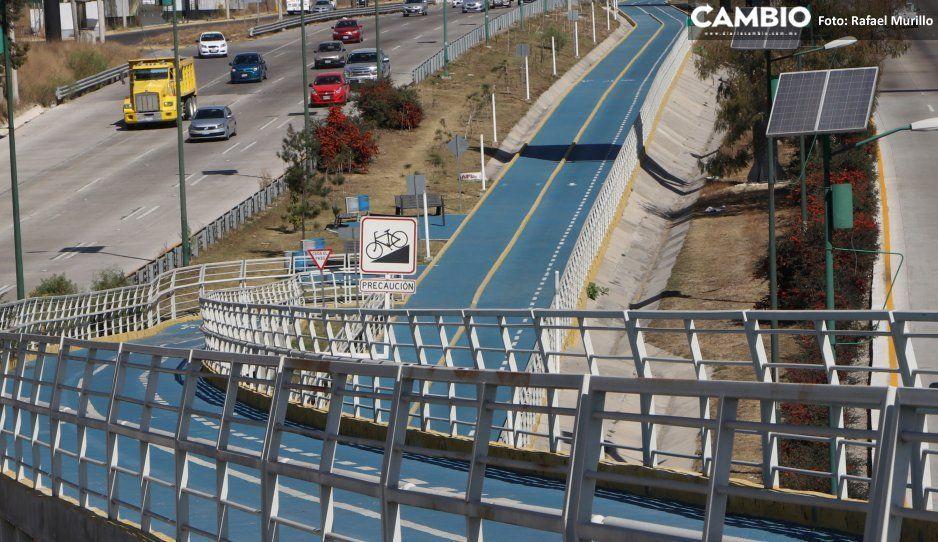 Sin luz e inservible, festeja la ciclopista del Periférico de Moreno Valle 3 años de vida