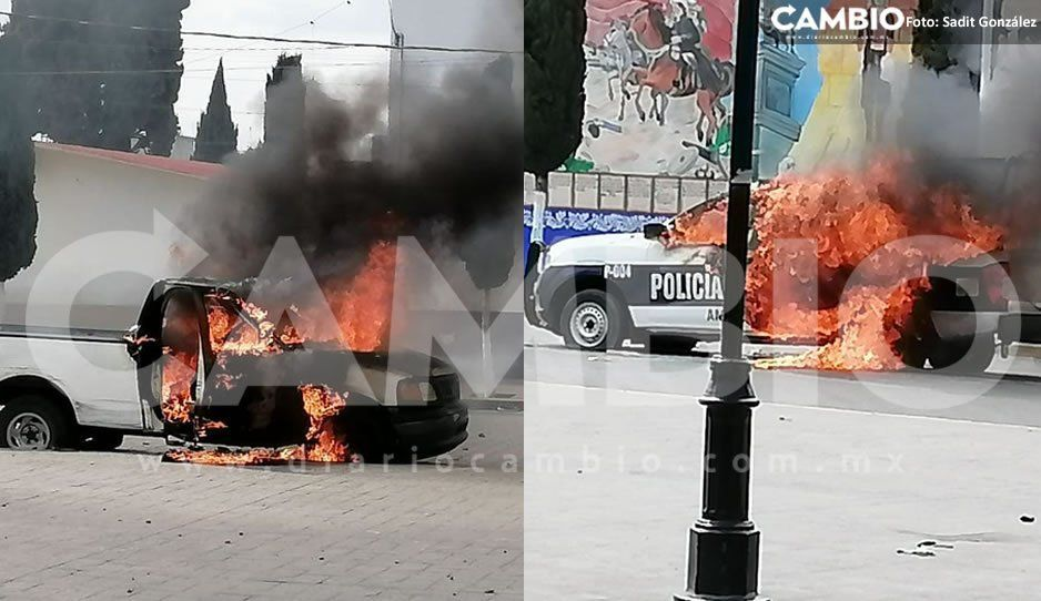 ¡Amozoc se sale de control! Pobladores queman patrulla y camioneta de un empleado municipal (FOTOS y VIDEO)