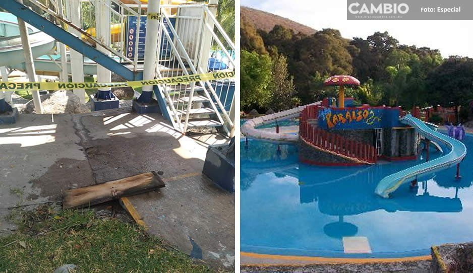 Niña cae de una altura de 4 metros en balneario de Atlixco: Aqua Paraíso no tenía medidas de protección o paramédicos