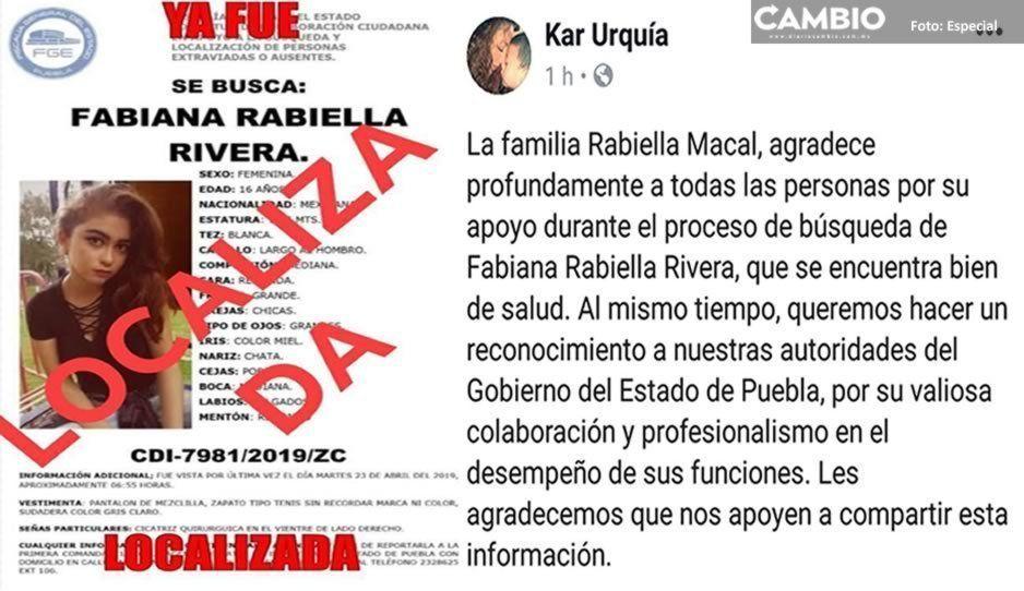 ¡Localizada sana y salva! Fabiana Rabiella ya se encuentra con su familia