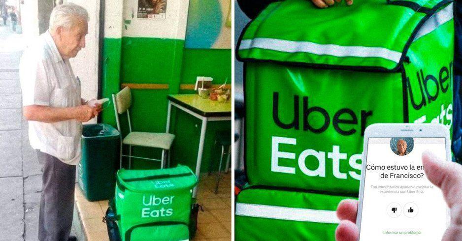 A falta de Uber, abuelito hace entregas de comida caminando