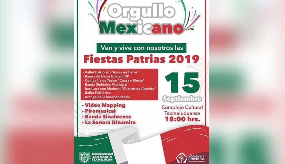 Gobierno de San Martín Texmelucan te invita a celebrar las fiestas patrias este 15 de septiembre