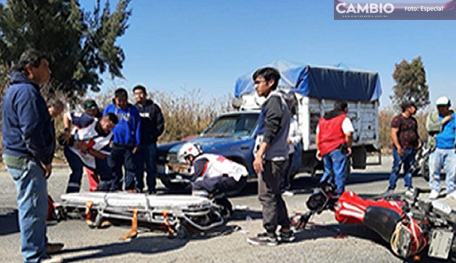 Transporte público ocasiona accidente en Texmelucan dejando 2 lesionados