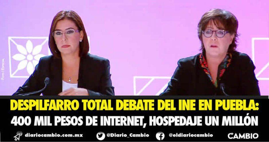Despilfarro total debate del INE en Puebla: 400 mil pesos de internet, hospedaje un millón