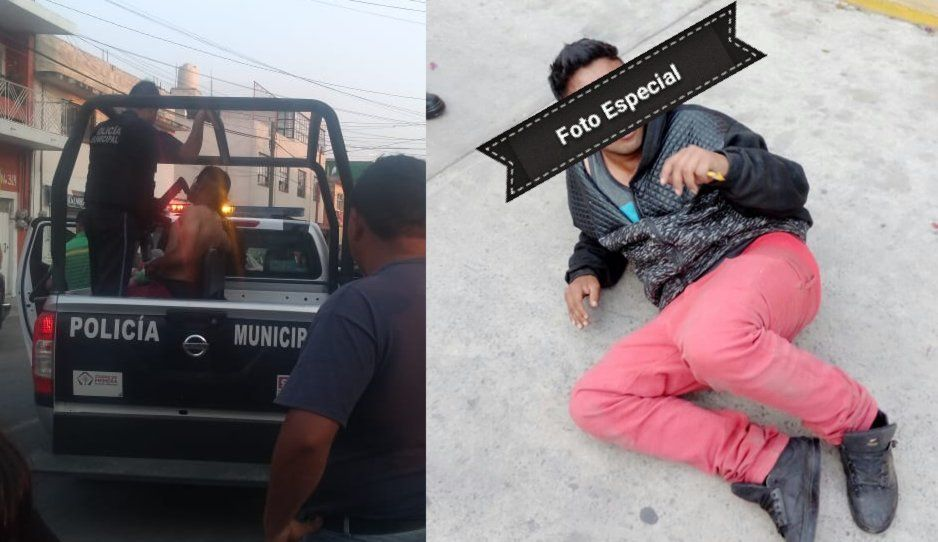 Policías de Texmelucan salva a ladrón de ser linchado