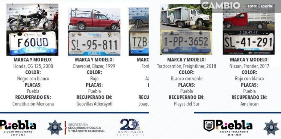 SSPTM recupera vehículos robados y asegura unidades involucradas en diversos delitos
