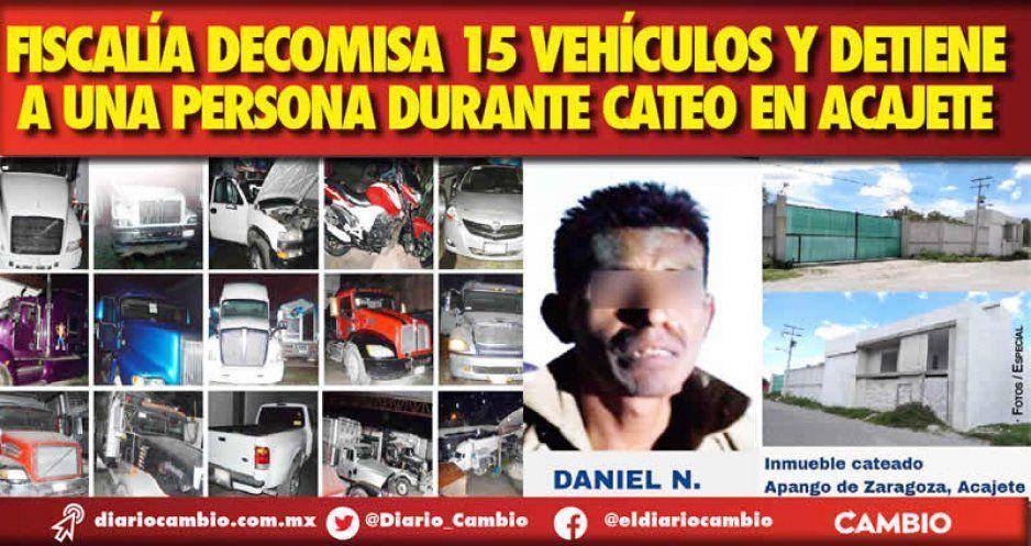 Fiscalía decomisa 15 vehículos y detiene a una persona durante cateo en Acajete