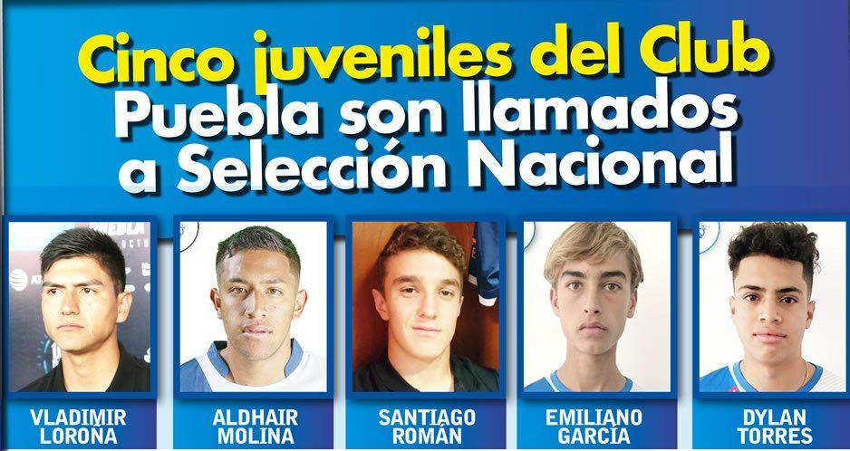 Cinco juveniles del Club Puebla son llamados a Selección Nacional