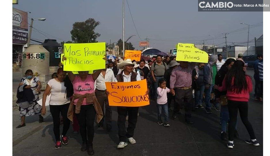 Mega marcha en Amozoc, pobladores están cansados de la inseguridad