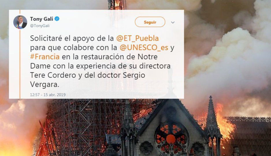 ¡Gali al rescate! Se ofrece el ex gobernador a colaborar en la restauración de Notre Dame!