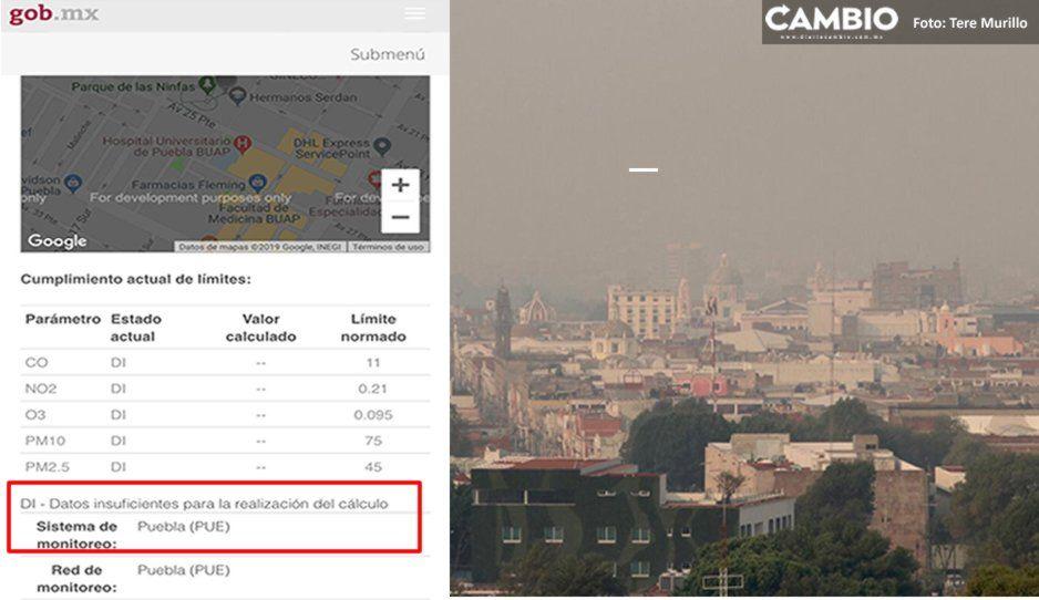 Por datos insuficientes Sinaica deja de emitir reportes de los niveles calidad del aire en Puebla