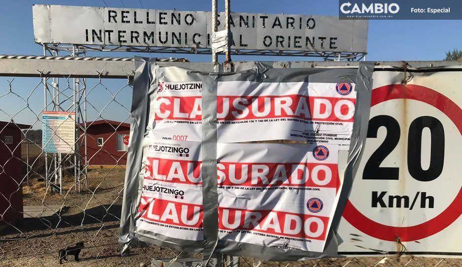 Por tercera ocasión clausuran Relleno Intermunicipal oriente en HuejotzIngo