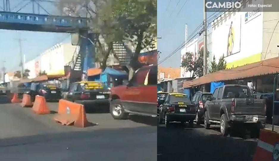 (VIDEO) Apartaderos de taxi reducen los carriles en Bulevard Norte