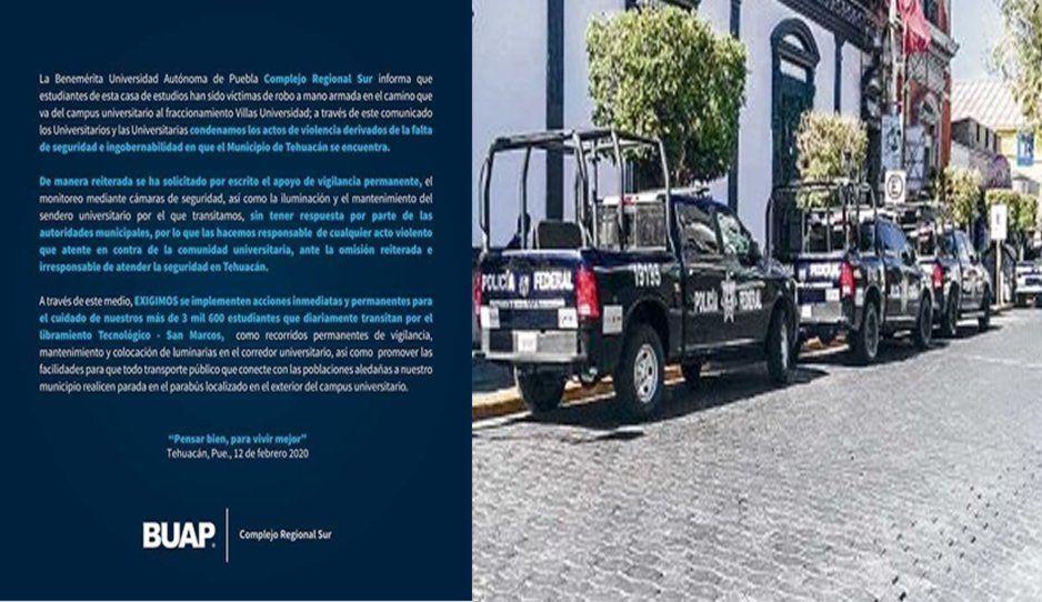 Responsabiliza comunidad BUAP a ayuntamiento de Tehuacán por inseguridad