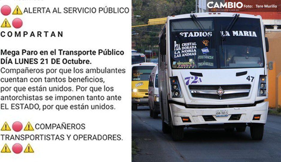 Transportistas convocan a paro el próximo lunes por descuento a estudiantes