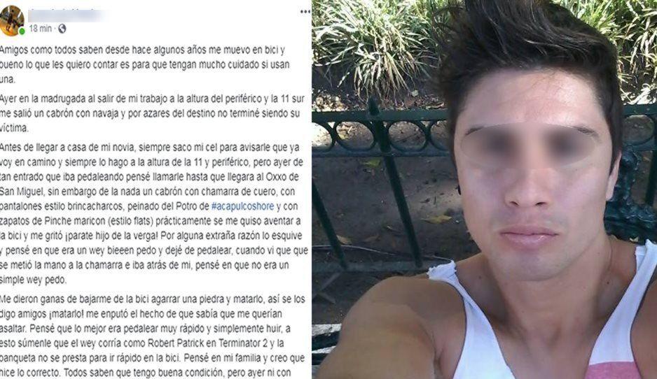 Ciclista poblano casi es asesinado por asaltante entre la 11 sur y Periférico
