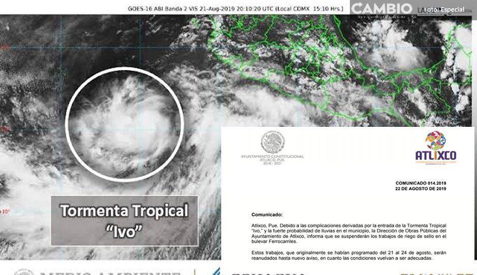 Ayuntamiento de Atlixco suspende trabajos en Bulevar Ferrocarriles por tormenta tropical Ivo
