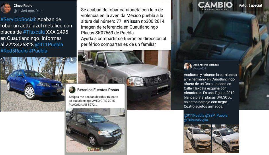 Ya suman cinco vehículos robados en menos de 24 hrs en Cuautlancingo