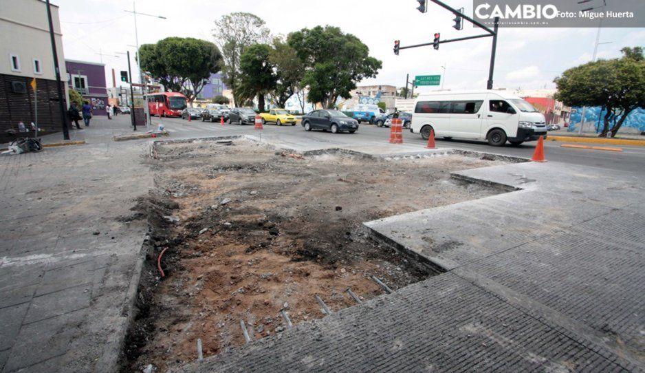 FOTOS: Destrozan concreto hidráulico del Bulevar Cinco de Mayo y la Avenida Juan de Palafox