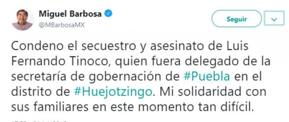 Barbosa lamenta fallecimiento de Luis Fernando Tinoco