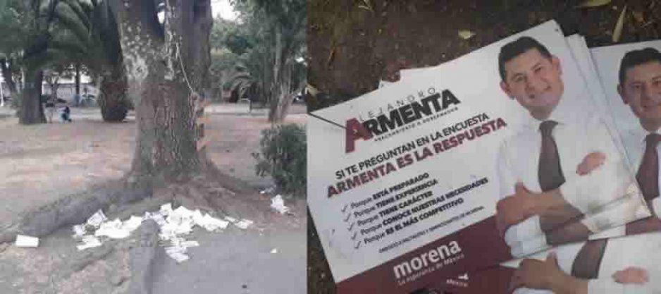 ¡Con la naturaleza no! Armenta contamina Puebla hasta con sus volantes (FOTOS)