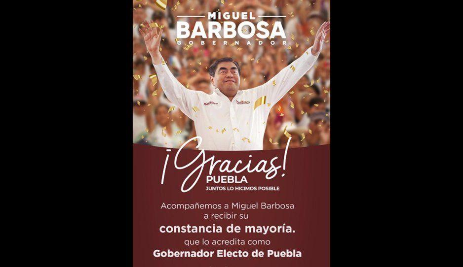 Ya es oficial: mañana 10:30 AM entregan constancia de mayoría a Barbosa