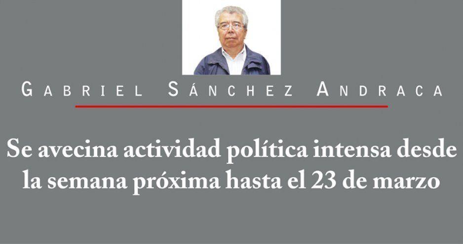 Se avecina actividad política intensa desde la semana próxima hasta el 23 de marzo
