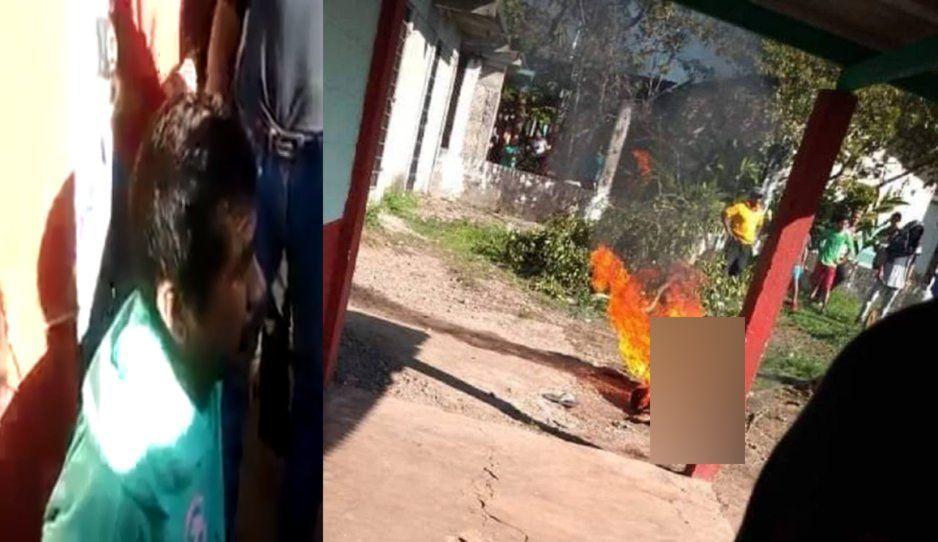 Así quemaron vivo a violador y asesino de niñita de 8 años (FUERTE VIDEO)