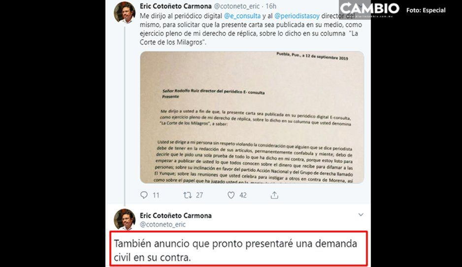 Eric Cotoñeto denunciará penalmente a Rodolfo Ruiz y a e-consulta por difamación