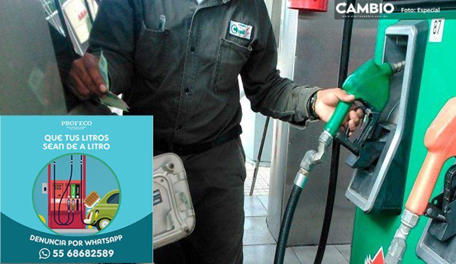 Profeco pide denunciar por WhatsApp venta de litros incompletos de gasolina