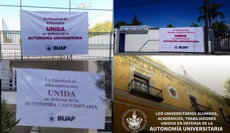 Colocan lonas en las facultades de la BUAP para defender la autonomía universitaria