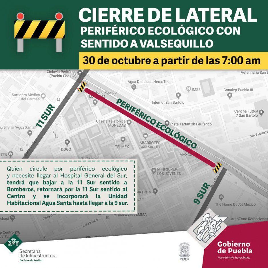 Por trabajos, habrá cierre en laterales del Periférico en sentido a Valsequillo