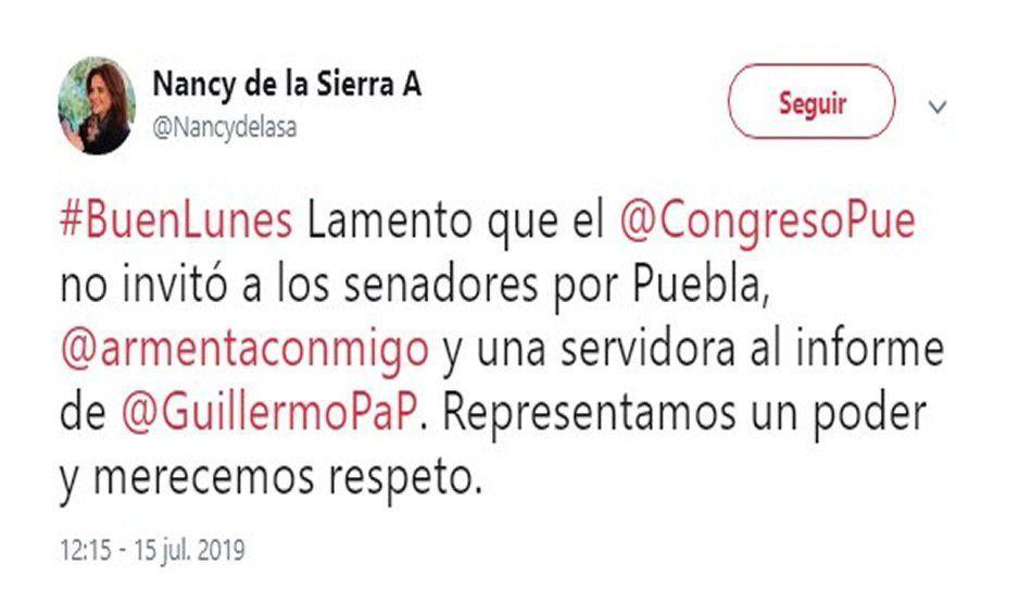 Nancy hace berrinche en Twitter por no ser invitada al informe de Pacheco Pulido