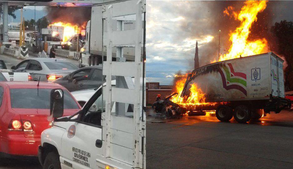 Tráiler choca contra caseta de cobro en la México-Puebla y provoca feroz incendio (FOTOS y VIDEO)