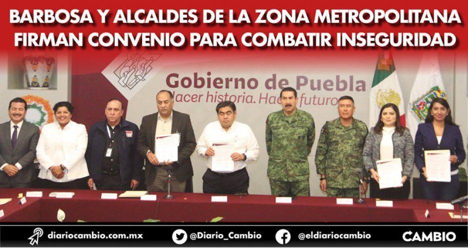 Barbosa y alcaldes de la zona metropolitana firman convenio para combatir inseguridad