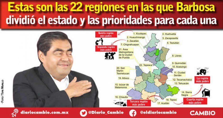 Estas son las 22 regiones en las que Barbosa  dividió el estado y las prioridades para cada una