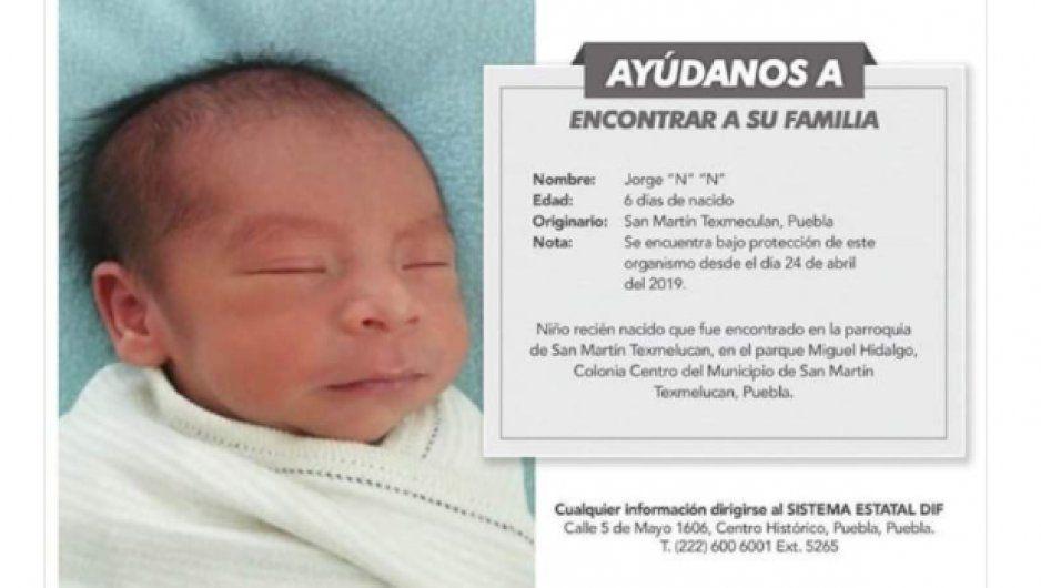 Se busca a la familia de niño recién nacido en San Martín Texmelucan