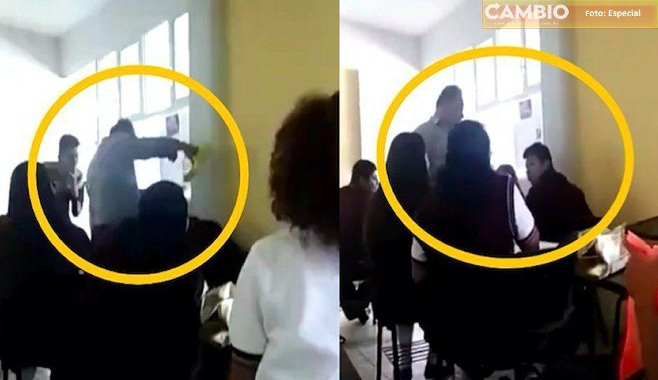 Maestro despierta a su alumno con agua fría en el CBTIS 184 en Izúcar (VIDEO)