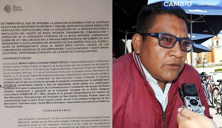 Innecesaria la donación de casi un millón de pesos a radio comunitaria: Osorio Coatl