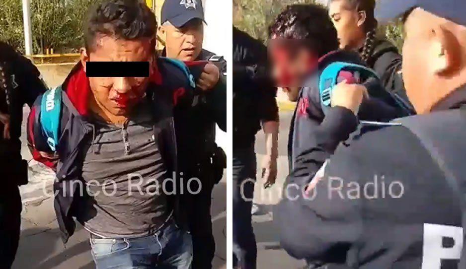 Vecinos Persiguen y dan tremenda paliza a sujeto que asaltó e hirió a una mujer de Bosques de Amalucan (VIDEO)