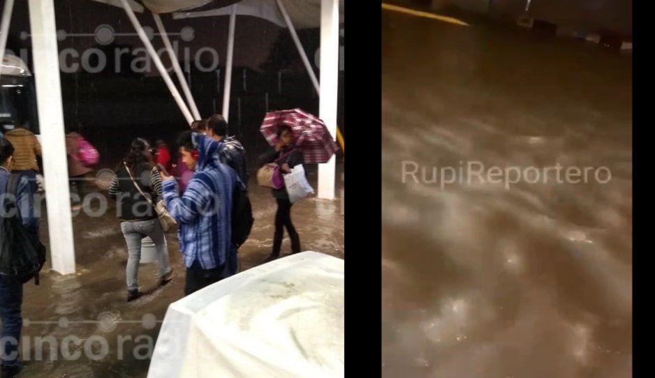 Tormenta en Puebla inunda hasta las estaciones del metrobús (FOTOS y VIDEO)
