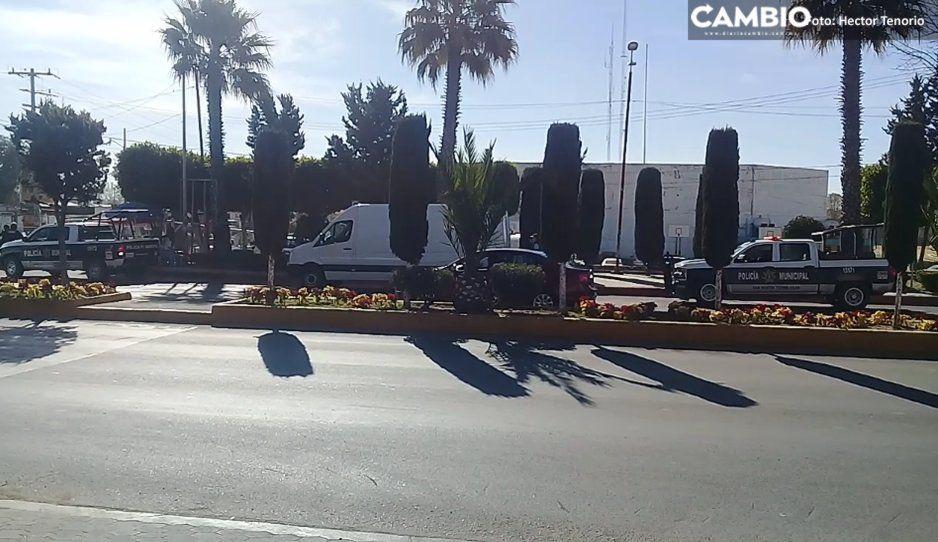 Policías recuperan unidad robada de comerciante en Texmelucan