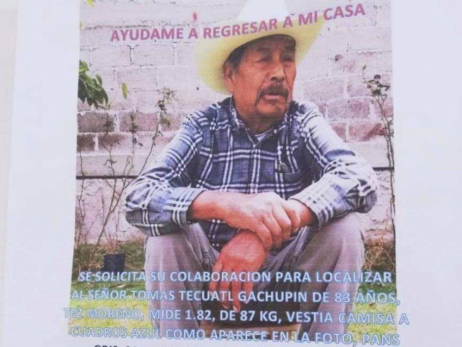 ¡Ayuda a localizarlo! Buscan a Tomás Técuatl, padece Alzheimer y desapareció en San Andrés Cholula