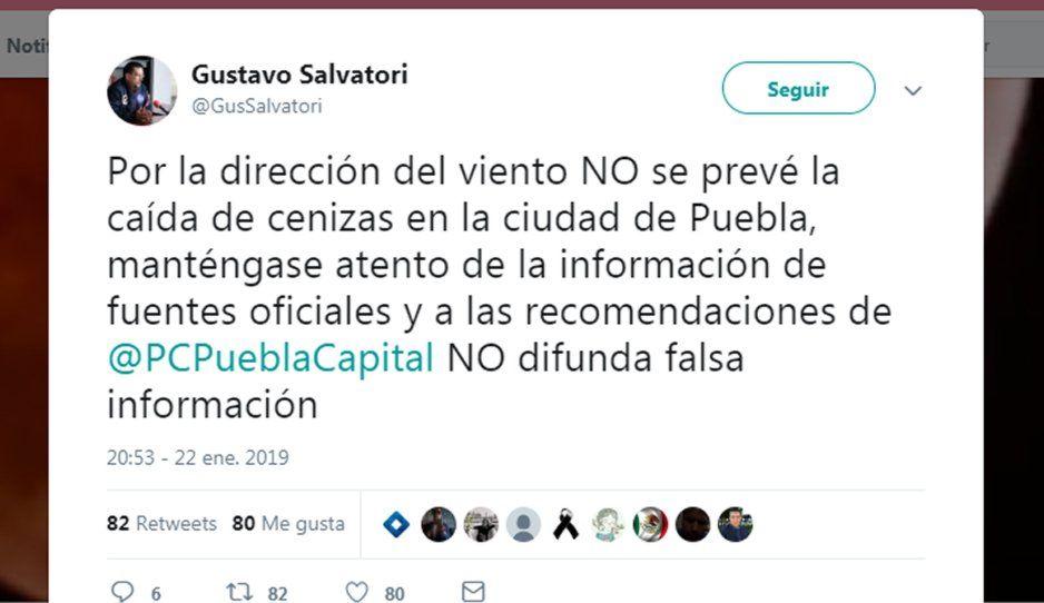 Cenizas del Popocatépetl no caerán en la ciudad de Puebla