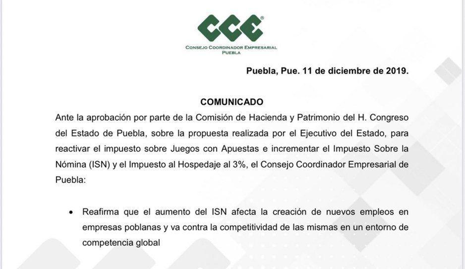 CCE manifiesta su apoyo a Barbosa por el incremento del ISN