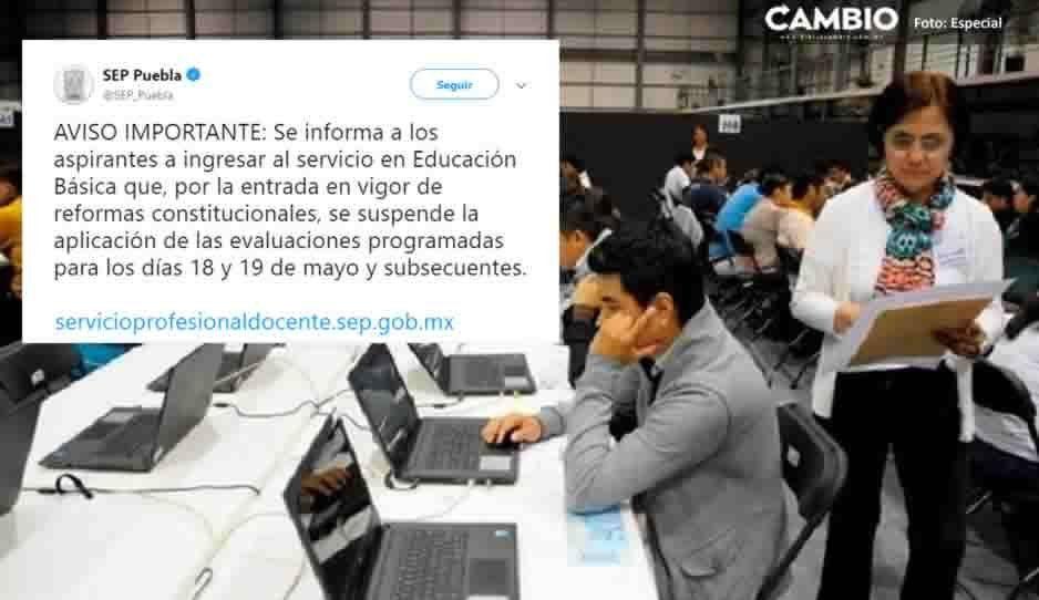 SEP Puebla suspende evaluaciones a docentes tras la aprobación de la Reforma Educativa de AMLO