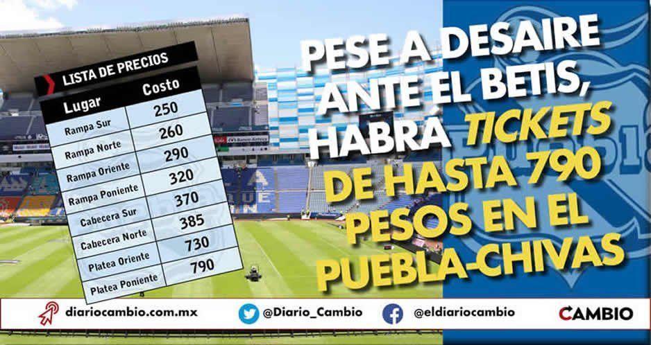 Pese a desaire ante el Betis, habrá tickets de hasta 790 pesos en el Puebla-Chivas