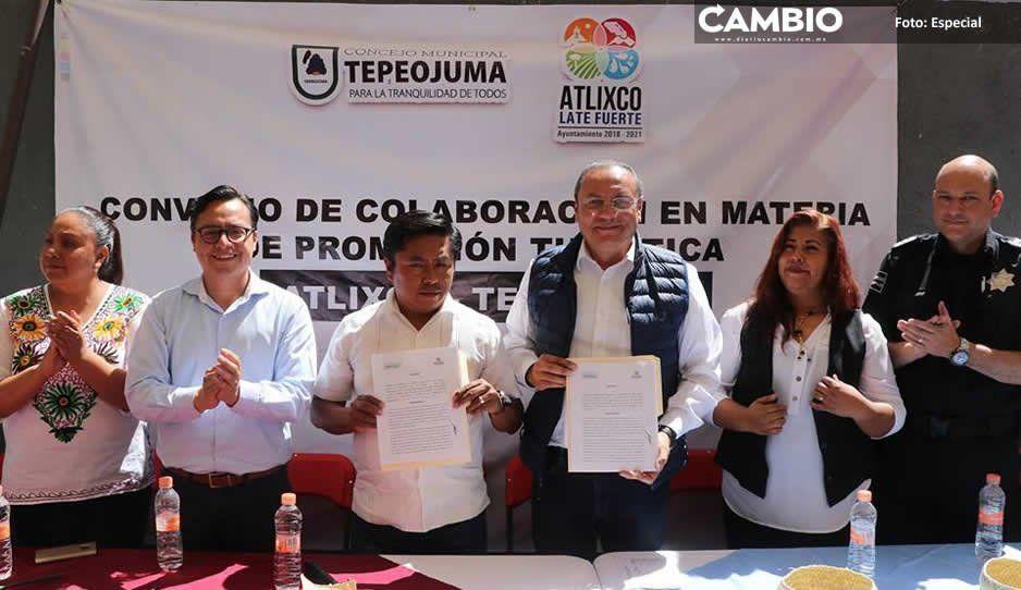 Firman convenio Atlixco y Tepeojuma para impulsar el turismo
