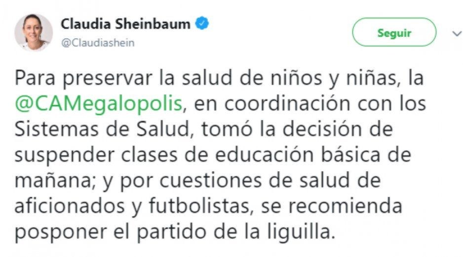 Claudia Sheinbaum recomienda posponer la semifinal América vs León